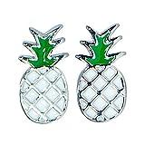 Pura Vida Silver Pineapple Stud Earrings - Sterling Silver, Brass Base - Rhodium Plating, 1 Pair
