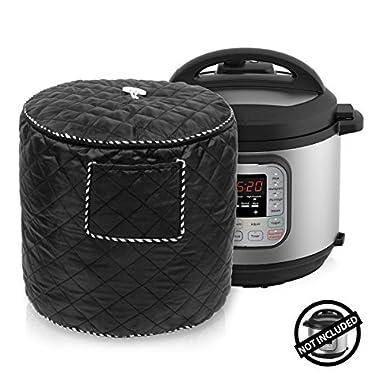 WERSEA Instant Pot Dustproof Bag/Decorative Cover - Pressure Cooker Covers Appliancers Cover Instant Pot Accessories 6 Quart- Black Color with Front Pocket