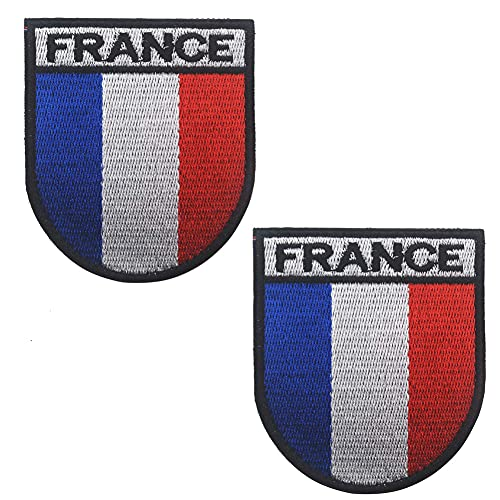 Parche de la bandera nacional de Francia, insignia bordada de tela de la moral francesa táctica militar del ejército aplique coser el emblema gancho de sujeción de la parte posterior (negro)