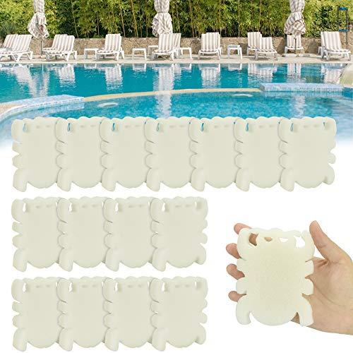 LYTIVAGEN 16 Stück Öl Absorbierender Schwamm Pool Schaum Schwamm Weiße Abschaum Schwamm Wiederverwendbar Ölabsorbierender Schwamm für Whirlpool, Schwimmbad, Spa