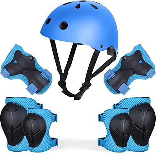 Conjunto de casco y coderas almohadillas para bicicleta para niños, equipo de seguridad padecuado para proteger niños durante el uso scooter (azul)