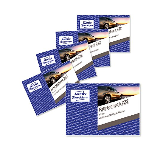 AVERY Zweckform 222-5 Fahrtenbuch (für PKW, vom Finanzamt anerkannt, A6 quer, 80 Seiten insgesamt 390 Fahrten, für Deutschland u. Österreich zur Abgrenzung privater/geschäftlicher Fahrten) 5er-Pack