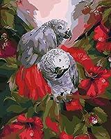 ナンバーキットによるDIYオイルペイントブランチオウムブラシ付きDIYアクリル絵画キットウォールアートホームリビングルームオフィス用アートワーク絵画40x50cm(フレームレス)