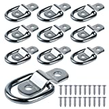 JCHL D-Ring Tie Downs Anchors Lashing Rings for Loads on Trailers Trucks RV Campers Vans ATV SUV Boats Motorcycles etc Vehicles Heavy Duty 2400 Pounds Capacity Tie Down Ring (10-Pack)