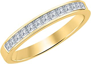 1.10ctw Princess Cut Gemstone Half Eternity Wedding Band Ring for Men's 14k Yellow Gold Over .925 Sterling Silver