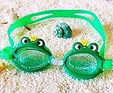 ONGDSWH Gafas de natación Gafas de natación Gafas de natación Niños UV Protección Frog Bee Cangrejo Pescado Dolphin Verano Piscina Capacitación Mascarilla Niños Eyewear Casos Duradero (Color : Green)