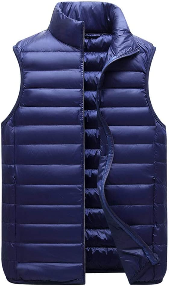 Shi xiang shop Casual Down Vest Stand Collar for Men, Lightweight and Warm Men's Vest, Youth Trend Loose Vest with Zip Pocket (Color : Blue, Size : 2XL)