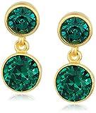 Kenneth Jay Lane 2 Drop Post Earring In Gold Emerald Drop Earring