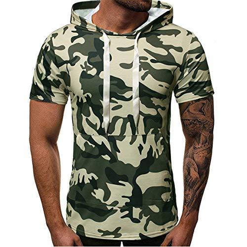 FUQUAN Herren T-Shirt mit Kapuze Kurzarm Shirt Slim Fit Hoodie Tops Männer Sommer Fashion Casual Pullover Pulli Hemd Bluse Mens Tee Herren Sweatjacke Zip Hoodie Kapuzenjacke Tarnmuster Camouflage