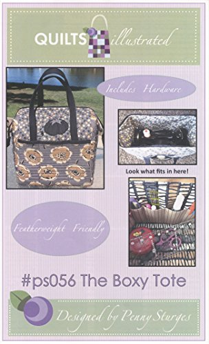 Quiltsillustrated The Boxy Tote Sewing Pattern Fits Singer Featherweight Sewing Machine: 14 inches x 11 inches x 12 inches, Includes Two Metal Stays