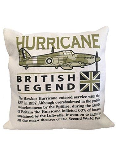 De Wooden Model Company Ltd Hawker Hurricane Wereldoorlog 11 Vliegtuig Kussen (46x46 cm Inner Inbegrepen). Af-Wit