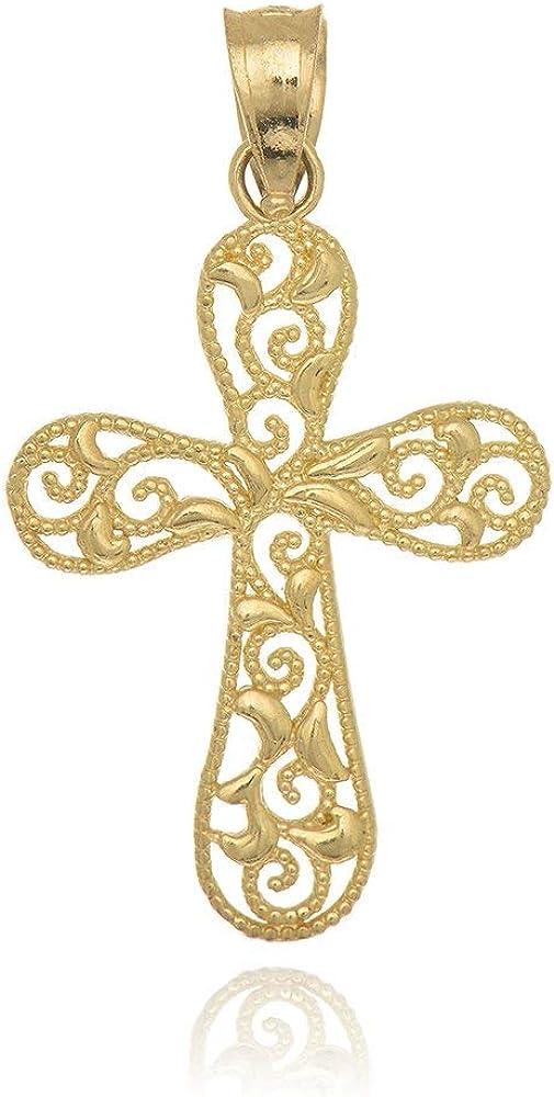 JewelStop 14K Solid Yellow Gold Filigree Cross Charm Pendant