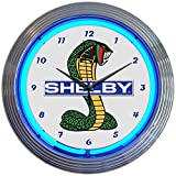 Neonetics Ford OLP Shelby Cobra Mustang Blue Neon Clock 15 Inch Diameter with Chrome Finish Rim – 8SHLBY