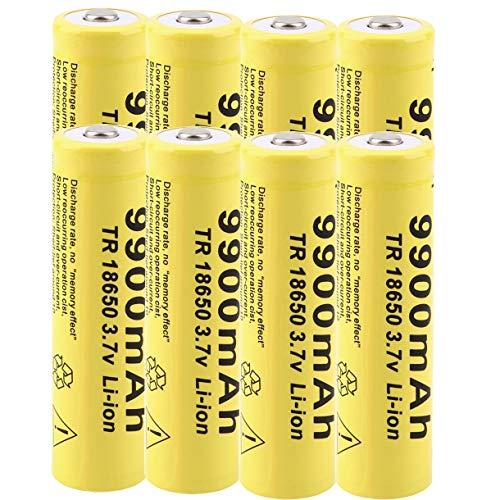 18650 - Batería de ion de litio recargable de alta capacidad 18650 de 3,7 V, batería recargable para cargar el faro 1800 veces (lote de 8)