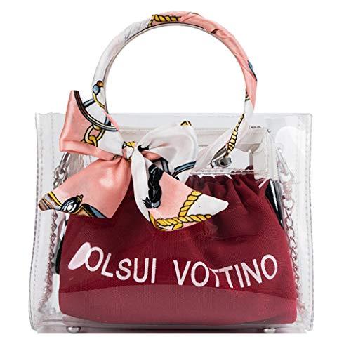 Louyihon-Sunshine Fashion Taschen Damen Sommer Tasche Transparent Jelly Bag Joker Einfache UmhäNgetasche Set 2Tlg (Rot 2)