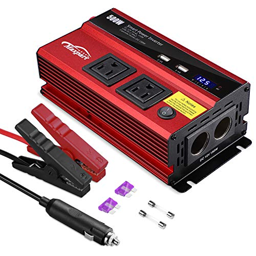 TWING 500W Power Inverter Car/Lightruck 12V DC to 110V AC Converter Dual 2.4A USB Ports Car Charger with Dual Cigarette Lighter Ports for Smartphones Laptops Tablets