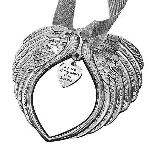 Wenhe Adorno de alas de ángel de Navidad, elegante colgante de plata de ley 925 para decoración