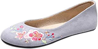 Inlefen Female Vintage Flat Low Top Solid Color Round Toe Embroidered Shoes