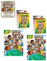 2パック ~ 多文化クレヨラ 世界の色 48ページ 塗り絵&アクティビティブック 32カウントの多文化クレヨン付き