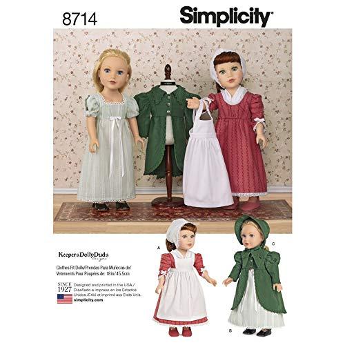 Simplicity Schnittmuster 8714 Puppenkleidung OS (Einheitsgröße)