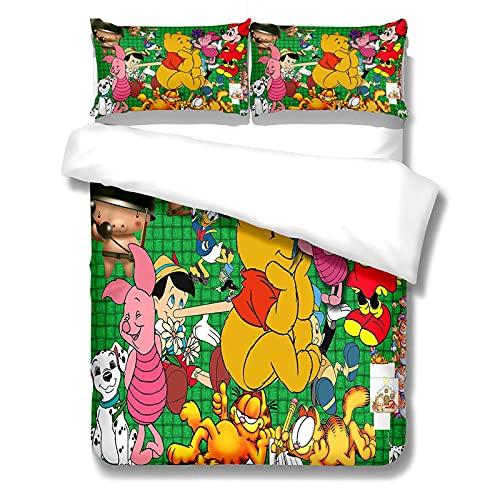 Cartoon Disney Juego de Cama Funda Nordica Cama Microfibra, Funda Edredon 200 x 200cm con 2 Fundas de Almohada 50 x 75cm, 3 Piezas, Muy Suave y Transpirable