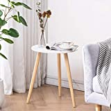 APICIZON Round Side Table, White Nightstand Coffee End Table for Living Room, Bedroom, Small Spaces, Easy Assembly Decro Bedside Table with Natural Wood Legs, 16.5 x 20.5 Inches