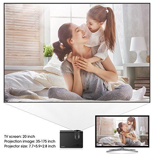 Projector, TENKER Q5 LED Mini Movie Projector Support 1080P HDMI USB TF VGA AV, Multimedia Home Theater LCD Video Projector, Black