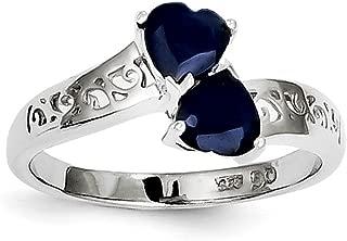 925 Sterling Silver Dark Sapphire Heart Band Ring S/love Gemstone Fine Jewelry For Women Gift Set