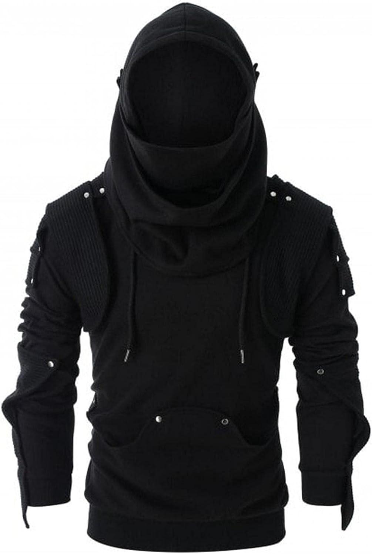 Hoodies for Men Gothic Steampunk Shirts Sweatshirt Winter Vintage Patchwork Slim Long Sleeve Hooded Tee Tops Blouses