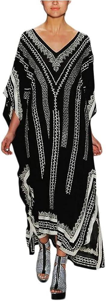 Lishengping Vestido de playa para mujer, estilo caftan, holgado, para playa, estilo turco, con diseño de caftan, largo