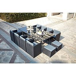CONCEPT USINE – Salon De Jardin Miami 12 Personnes en Résine Tressée Noir Poly Rotin – 1 Table en Verre – 8 Fauteuils…