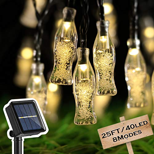 HOME COMPOSER 25 FT 40 LED Coke Solar String Lights, Waterproof Fairy Lights 8 Modes Sloar Powered, EnbrightenCafé Patio Indoor Outdoor for Christmas,Wedding Party, New Year(Warm White)