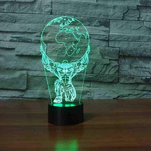 3D Bodybuilding Earth On Head Led Table Lamp 7 Colors-Changing Atmosphere Night Light Bedside Sleep Decor Kids Gifts