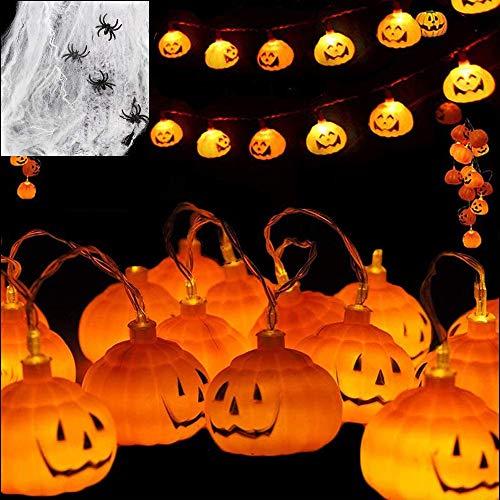 Evance Cadena de Luces, 10FT 20 LED Calabaza Luces + Telaraña + 4 arañas Falsas, Guirnaldas Luces a Pilas para Decoraciones de Fiesta de Halloween Navidad (Calabazas Naranjas)