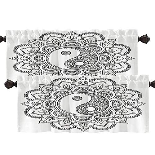 Batmerry Mandala Oriental Book Kitchen Valances Half Window Curtain, Decorative Spiritual Balance Mandala Kitchen Valances for Windows Heat Insulated Valance for Decor Reducing The Light 52x18 Inch
