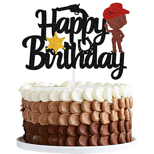 Yvokii Litter Cowboy Happy Birthday Cake Topper Black Western Wild West Farm Theme Party Boot Shooting Mexican Hat Kids Baby Shower Anniversary Cake Decorations Supplies