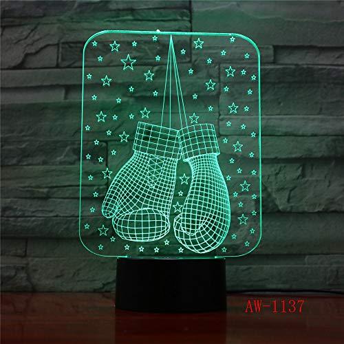 Nachtlampje 3D optische illusie handschoenen LED usb afstandsbediening met 7 kleuren per touch