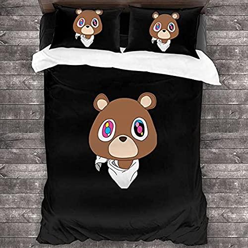 Bettbezug-Set für Herren Kanye West 3-teiliges Bettwäsche-Set Tagesdecken weich & lichtecht mit 2 Kissenbezügen & Reißverschluss Für Zimmer