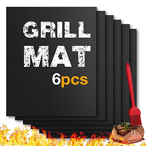 BBQ Grill Mat Set of (6+1) - Set of 6 Heavy Duty Outdoor Barbecue Grill & Silicone Brush 1 pcs- Non Stick, BBQ Grill & Baking Mats - Reusable , Easy to Use on Gas Charcoal Electric, Electric Grill
