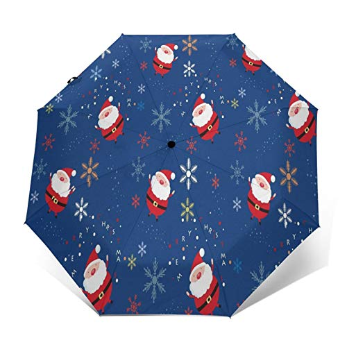 TISAGUER Compact Travel Umbrella Windproof Automatic,Cute Cartoon Picture,Red Yellow Snowflakes and Santa Claus On Blue Background,Waterproof Umbrella