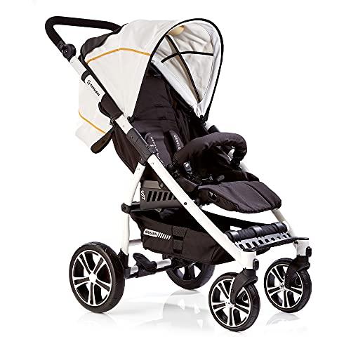 Gesslein Silla de paseo S4 Air+ Design 365 de piel blanco/negro con función reclinable, plegable, para niños grandes de hasta 25 kg, altura regulable, cochecito deportivo, estructura de color blanco