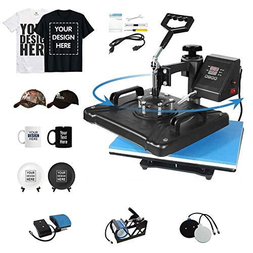 Aonesy Heat Press Machine Pro 5 in 1 Heat Transfer Machine Digital Sublimation Heat Press Machine for T-Shirts Hat Mug Plate Cap Bottle with 360-Degree Swing Away Function (Blue, 12 x 15 Inch)