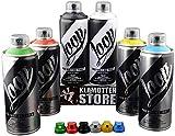 Sprühdosen Set Loop Graffiti Grundfarben inkl. schwarz & weiß 6x400ml + Ersatzsprühköpfe