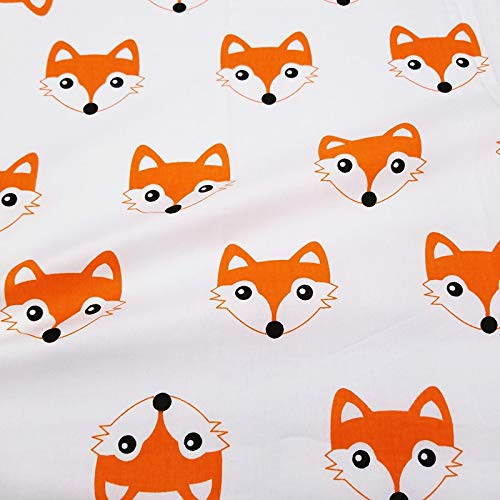 63Inch x 19.7Inch Fox Printed Cotton Fabric for Quilting-Cartoon Printed Twill Cotton Fabric-Animal Arrow Series Fabric Patchwork Craft Cotton Material-Patchwork Clothes for Women