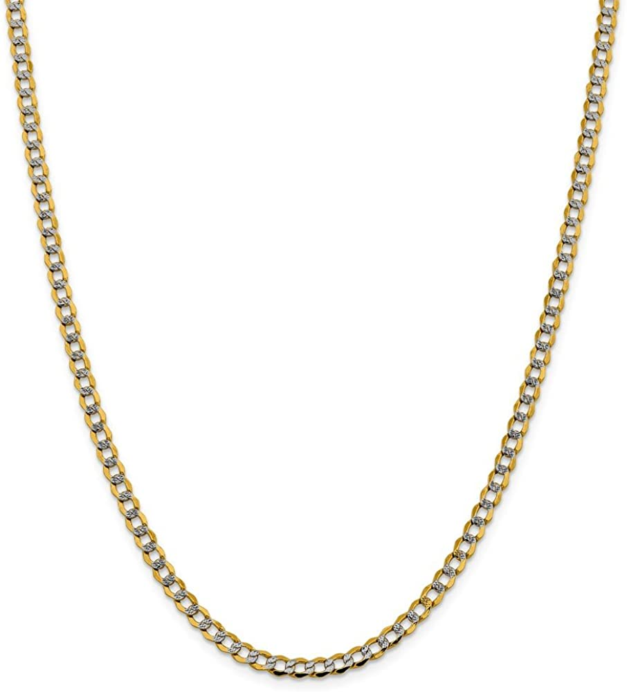 14k Yellow Gold 4.3mm Link Curb Chain Necklace 20 Inch Pendant Charm Pav? Fine Jewelry For Women Gift Set