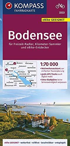 KOMPASS Fahrradkarte Bodensee 1:70.000, FK 3333: reiß- und wetterfest mit Extra Stadtplänen (KOMPASS-Fahrradkarten Deutschland, Band 3333)