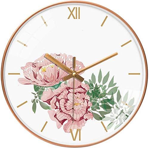 JJDSN Reloj de Pared silencioso idílico, Reloj de Pared con Estampado Floral clásico Reloj Decorativo de Interior Vintage Reloj de Pared de precisión para Montaje en Pared Uso Familiar