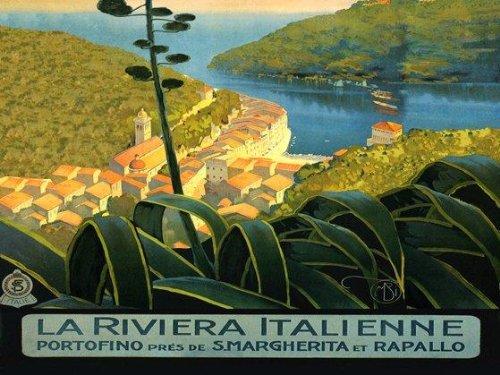 "Portofino Italian Fishing Village Italy Riviera S. Margherita Rapallo HUGE HORIZONTAL 36"" X 48"" Image Size Vintage Poster Reproduction. Available in More Sizes!"