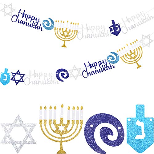Chanukah Garland Happy Hanukkah Banner Silver Blue Glitter Dreidel Garland Chanukah Party Supplies Hanukkah Party Decorations for Home Festival Decor, Pre-Assembled, 8.2 Feet (2 Pieces)