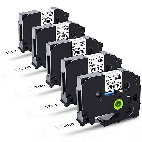 Nastro per Etichette Wonfoucs Compatibile In sostituzione di Brother TZe231 TZe-231 12mm x 8m Tape Nero su Bianco Compatibile con Brother P-Touch H105 1000 1010 H100LB, confezione da 5